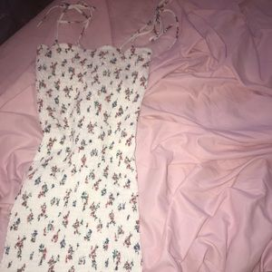 Tight white flower print dress